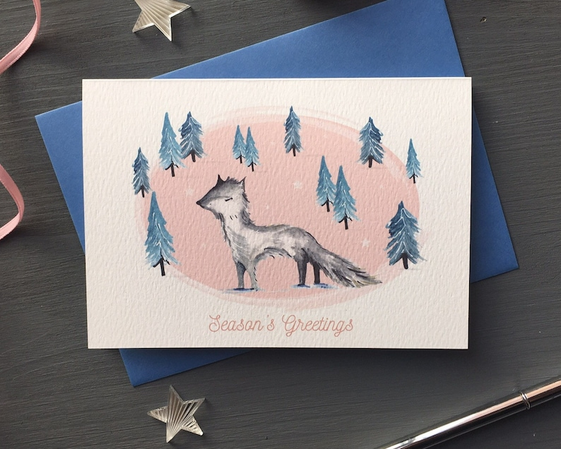 Vintage style pink arctic fox Christmas card image 0