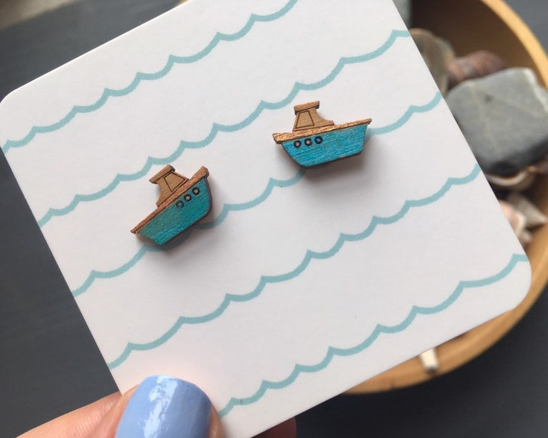 Tiny tug boat stud earrings hand painted boating jewellery image 0