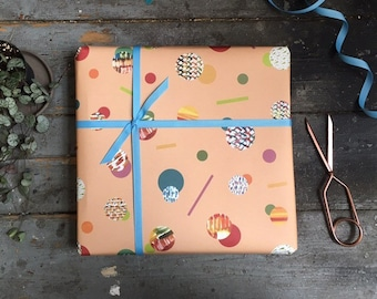 Modern Abstract Peach and Orange Wrapping Paper Set