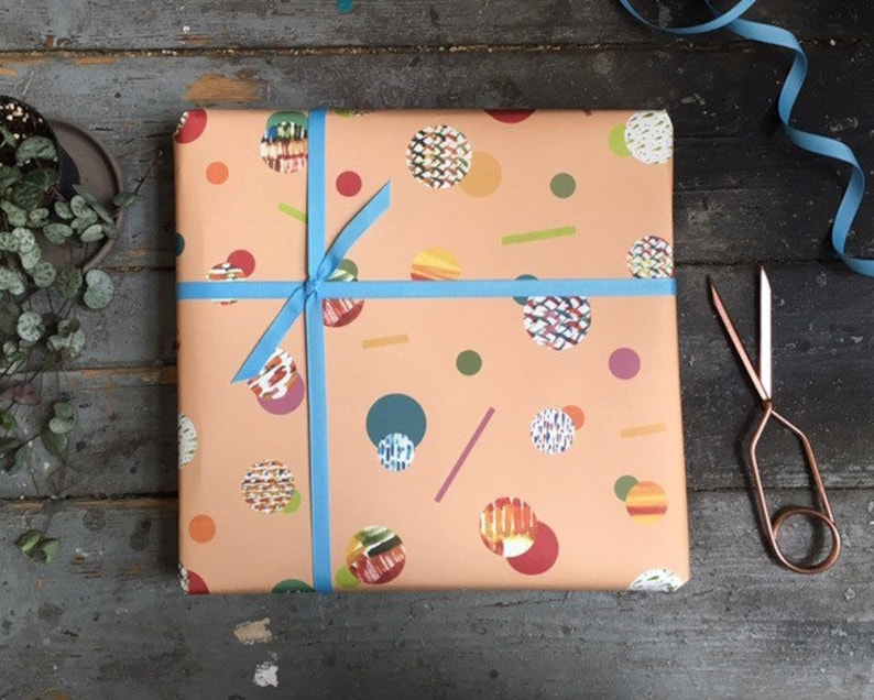 Modern Abstract Peach and Orange Wrapping Paper Set image 0