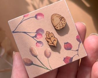 Oak and Acorn wooden stud earrings, nature jewellery gift