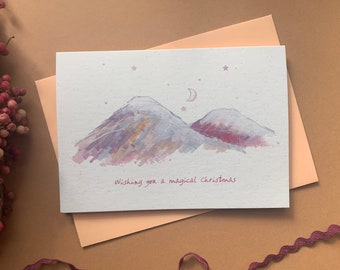 Magical Christmas mountains and moon card - cosmic Christmas card - Yule- winter moon