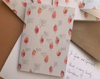 Set of Robin Christmas Holiday cards, cute robin holiday notecards.