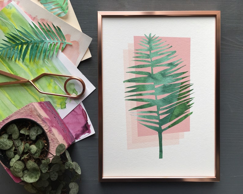 Tropical palm leaf print in mid century Palm Springs style. image 0