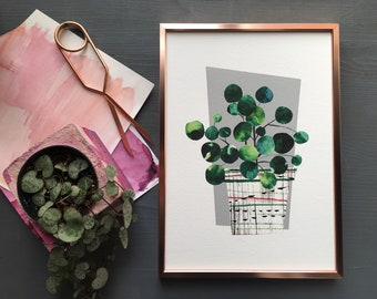 Pilea peperomiodes house plant art print in mid century modern style. Gallery wall art