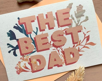 The Best Dad Fathers Day Card - Eco friendly - ocean theme