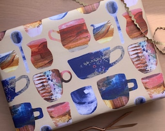 Vintage mugs wrapping paper, studio ceramics giftwrap for coffee lovers.