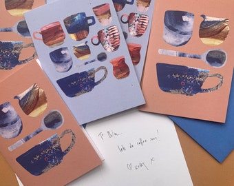 Set of 6 coffee cup notecards with envelopes, notelet set, vintage pottery cards, stationery gift set, correspondence cards