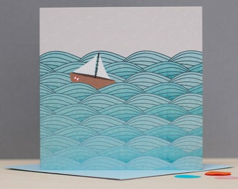 Sailing boat card - Ocean card - Birthday card for her - Sailing birthday card - Card for brother - Ocean Invitation