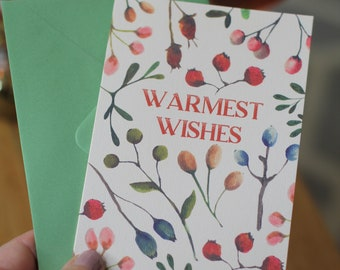 Botanical Christmas Card - Warmest Wishes - Winter Berries Vintage Holiday Card