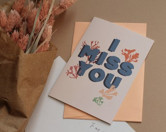 I miss you card, thinking of you, just because card, quarantine card, lockdown letters, missing you, long distance relationship