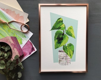 Monstera cheese plant art print, mos century modern style houseplant print.