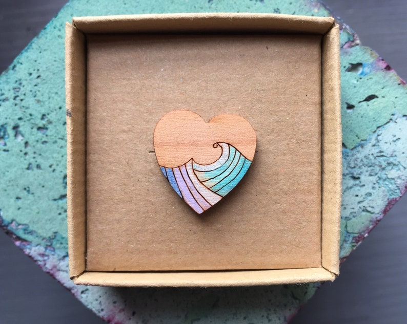 Ocean wave love heart lapel pin valentines gift image 0