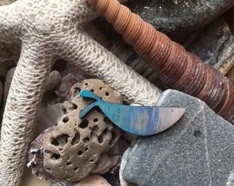 Minimal wooden fish brooch, fishing lapel pin