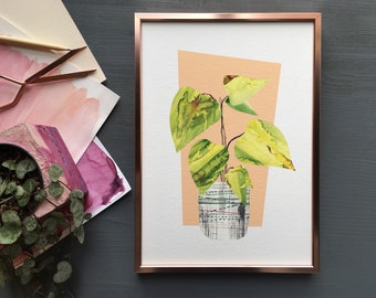 Tropical house plant print, begonia botanical collage art in mid mod style.