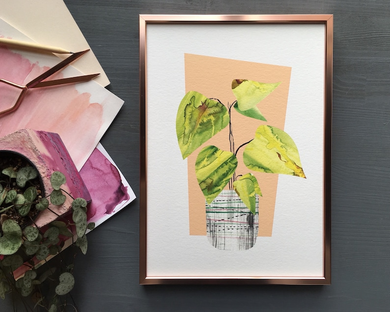 Tropical house plant print begonia botanical collage art in image 0