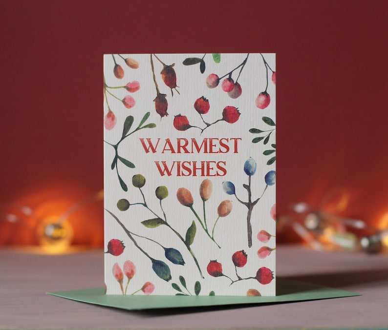 Botanical Christmas Card  Warmest Wishes  Winter Berries image 0