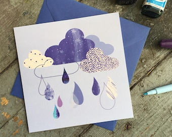Raindrop baby shower or new baby card