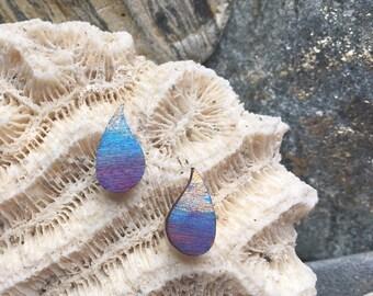 Raindrop small stud earrings, hand-painted turquoise teardrop studs