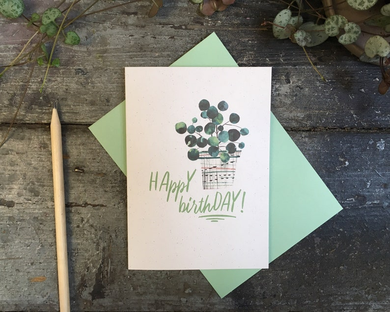House Plant birthday card  for gardener or plant lady image 0