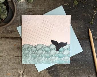 Whale Birthday Card - Whale greetings card - Ocean Notecard - Ocean Stationery -Birthday Card for Friend - Card for Mum