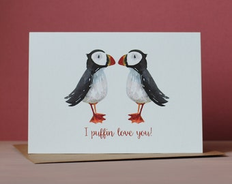Puffin valentines card for wife or girlfriend