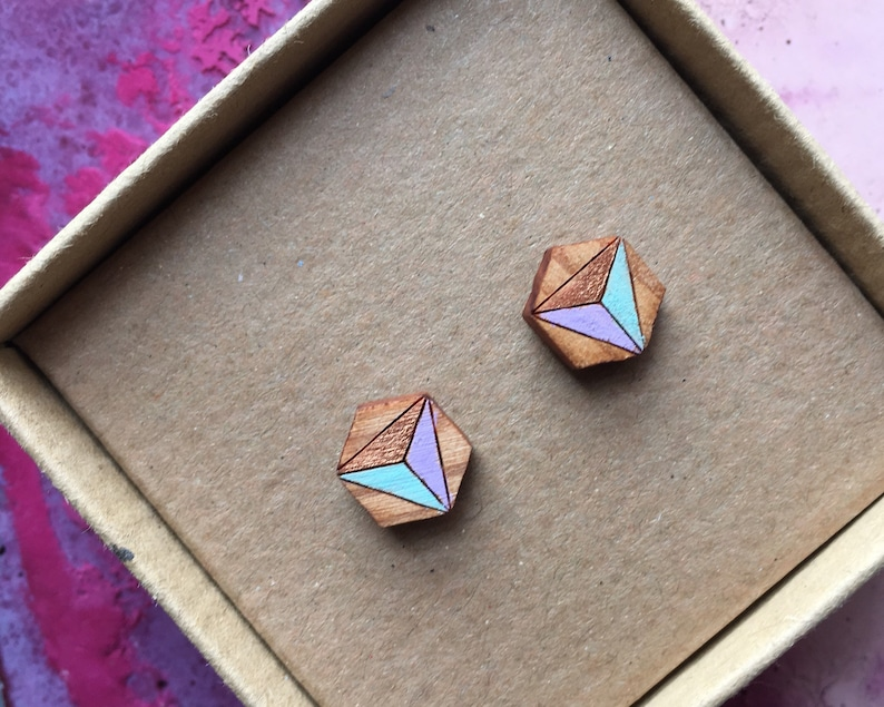 Geometric hexagon stud earrings lilac mint and copper. image 0