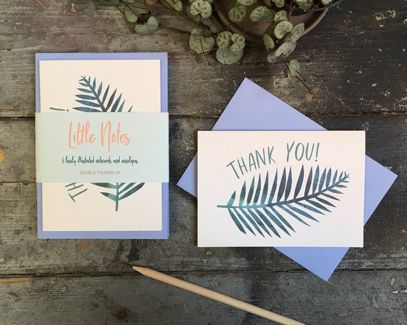 Set of 6 thank you cards with envelopes with botanical image 0
