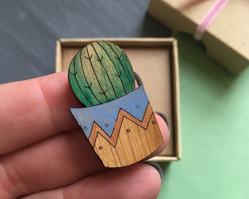 Cactus in blue pot lapel pin. Gift for a plant lover. image 0