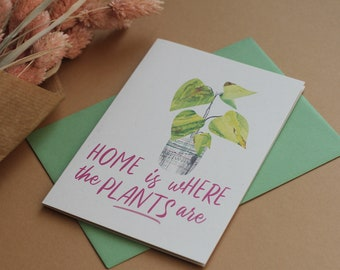 housewarming card for plant lovers, new home card, moving house card, funny houseplant card