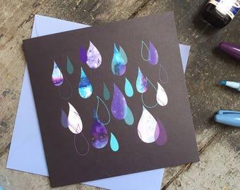 Raindrop baby shower or birthday card
