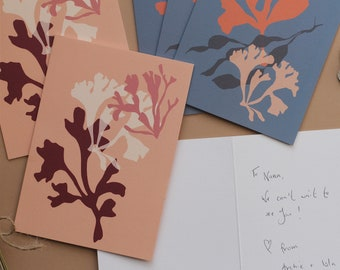 Set of 6 sea coral notecards with envelopes, notelet set, matisse cutouts, stationery gift set, correspondence cards