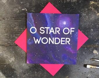 Star of wonder christmas card - galaxy christmas card - space xmas card - star holiday card - galactic christmas greetings - purple universe