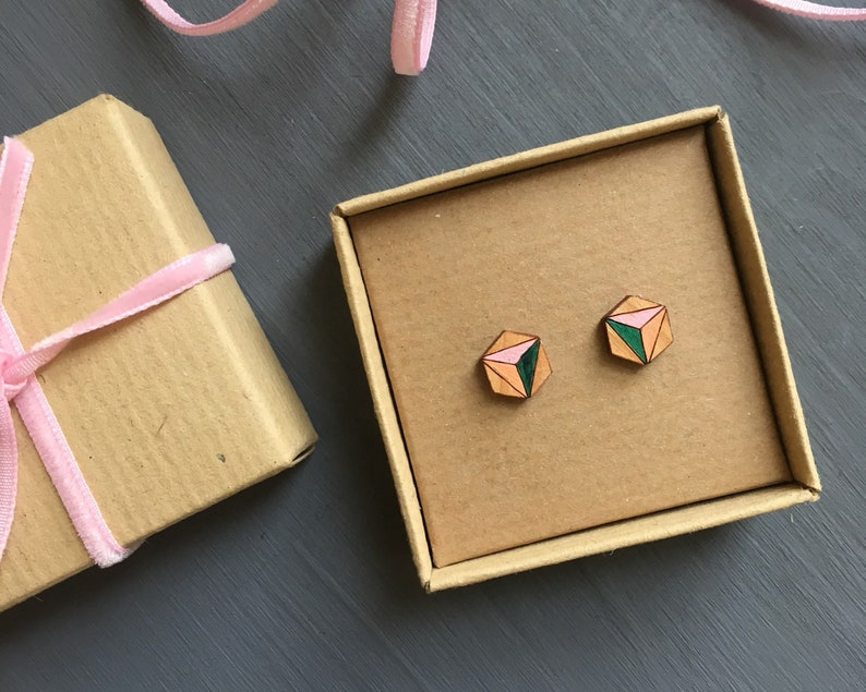 Hexagonal wooden stud earrings Hand Painted Pink and Green image 0