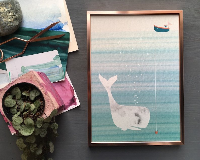 Friendly whale and boat print for nursery or kids room image 0