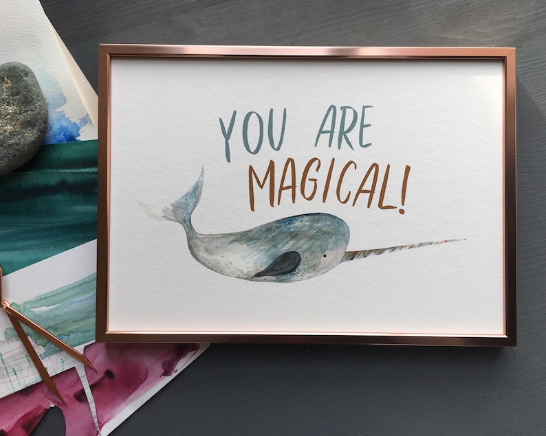 Magical Narwhal Unicorn of the Sea print for children nursery image 0