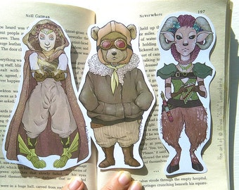 Shaped fantasy bookmarks | Fantasy art, steampunk art, bookmark set, art prints, illustration, cute bookmark, print, fantasy creatures, faun