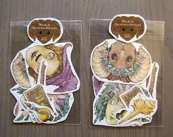Magical Creatures Stickers! Set of 11 creepy cute stickers. | Scrapbook, kawaii stickers, fantasy illustration, faun, mermaid, woodland.