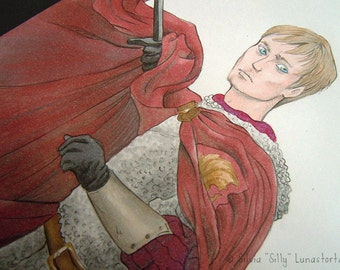King Arthur, original illustration.  | Merlin, BBC, fan art, original art, pencil drawing, copic markers, medieval, fantasy art, tv series
