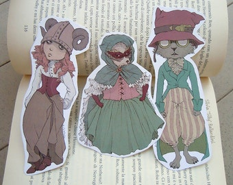 Shaped fantasy bookmarks | Fantasy art, steampunk art, bookmark set, art prints, illustration, cute bookmarks, print, fantasy creatures, cat
