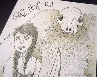 Fight like a girl, original illustration.  | Original art, creepycute, pencil ink drawing, girl power, creatures, artwork, fantasy art.