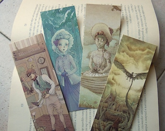 Set of 4 fantasy bookmarks. | Bookmark set, steampunk art, fantasy art, illustration, art prints, bookmarks.