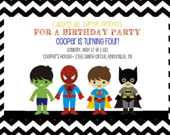 Super Hero Birthday Invitation- Printable