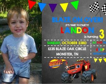 Blaze Monster Machine Birthday Invitation- Printable