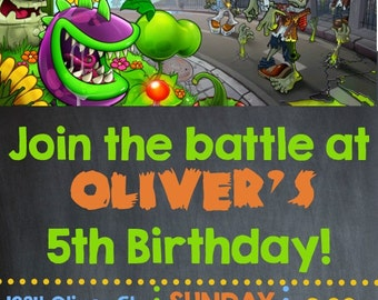 Plants VS Zombies Birthday Invitation- Printable