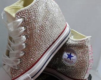 d4a12f90d03 Off Brand Wedge Full Bling Wedding Sneakers- Bridal Sneakers- Custom Wedding  Sneakers- Wedding Wedge Sneakers- hochzeit- Non Converse Brand