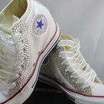 Off Brand Wedge Full Bling Wedding Sneakers- Bridal Sneakers- Custom Wedge Sneakers- Wedding Sneakers- Wedge hochzeit- Non Converse Brand