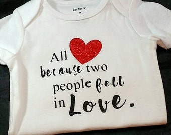 Valentines Day Custom Onesie or TShirt- Two People Fell in Love- Baby Girl- Baby Boy- Bodysuit- Baby Gift- Baby Shower Gfit- New Baby Gift
