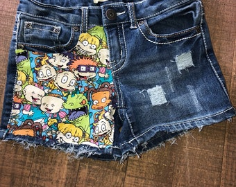 Girls Shorts- Boys Shorts- 90's Cartoon Shorties- Rugrats Kids Shorts- Distressed Shorts- Baby Girl Shorts- Baby Boy Shorts- Kids Fashion