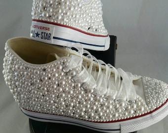 Wedge Wedding Converse- Bridal Sneakers- Bling & Pearls Custom Converse Sneakers- Bridal Chuck Taylors- Wedding Sneakers- Converse hochzeit